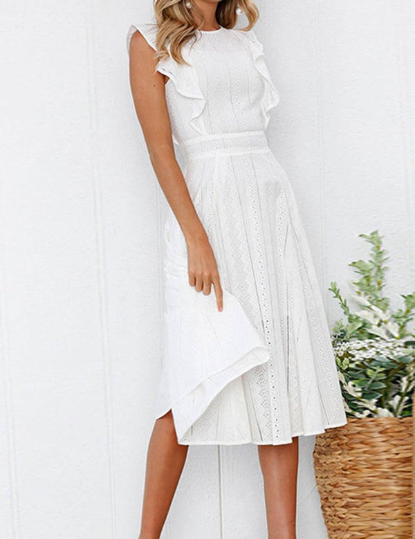 A-line Round Neck Fashion Ruffle Elegant Midi Dress - Fancyqube