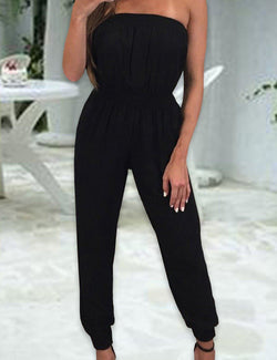 Sexy Strapless Black Jumpsuit