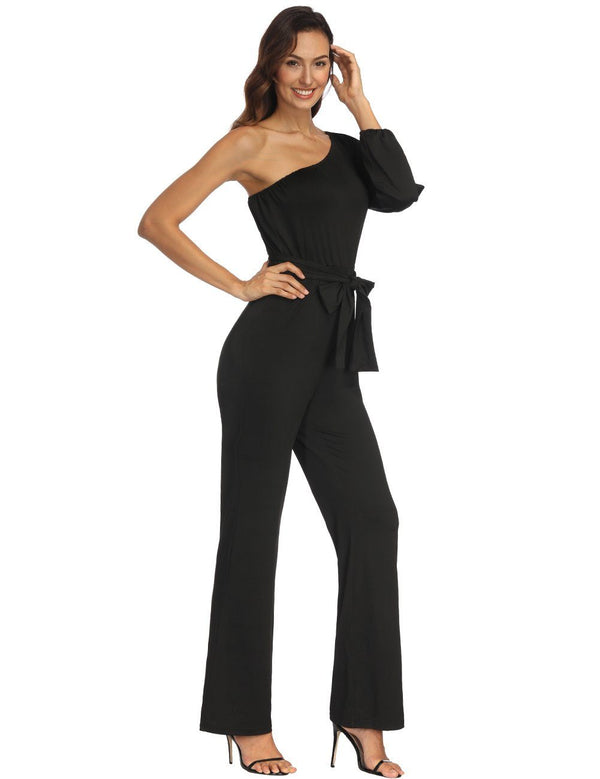 One Shoulder Irregular One Long Sleeve Jumpsuit