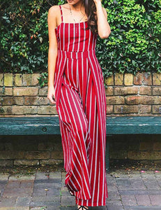Sexy Slip Stitching Red Striped Jumpsuit