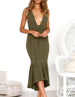 Sexy Deep V Neck Sleeveless Fishtail Midi Dress