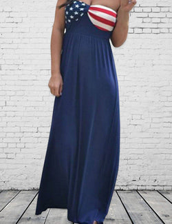 American Flag Printed Sweetheart Navy Wrapped Maxi Dress - Fancyqube