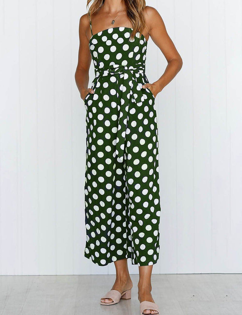 Sexy Slip Polka Dot Belt Tied Jumpsuit