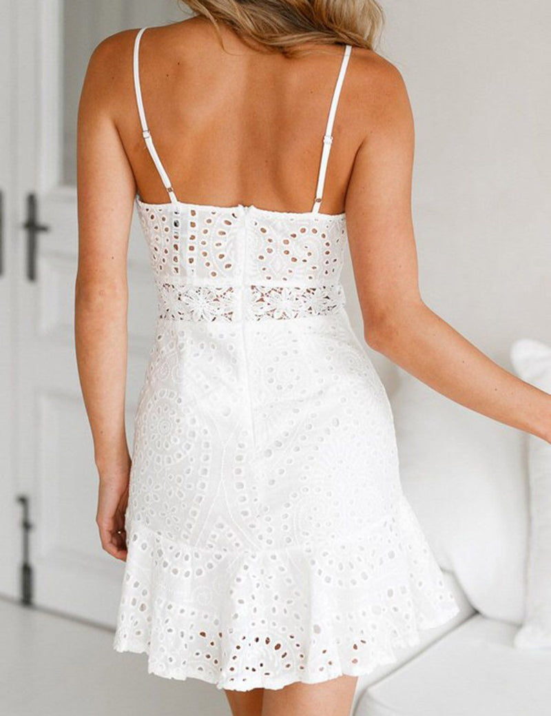 Charming Sleeveless Hollow-out White Mini Dress
