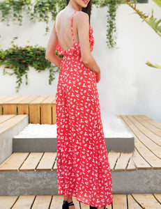 Sexy V-Neck Sling Split Cross Bohemian Print Maxi Dress