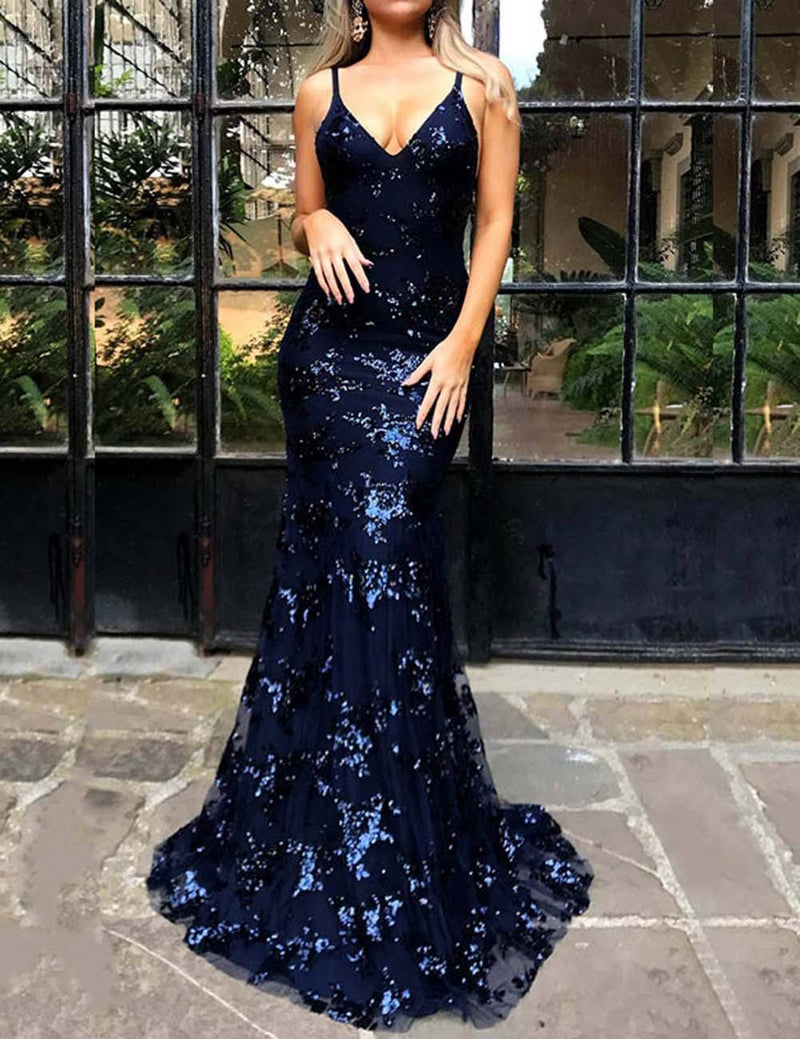 Sexy Mermaid Sheath V-Neck Sling Backless Sequin Prom Dress