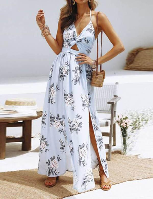 Bohemian Deep Halter V Neck Maxi Slit  Ankle Length Maxi Dress