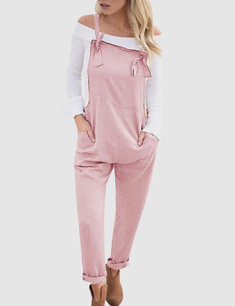 Casual Loose Pockets Solid Color Jumpsuit