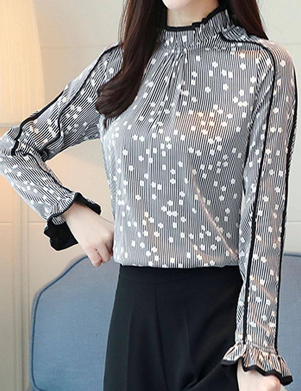 Stand Collar Ruffled Printed Chiffon Long Sleeve Blouse