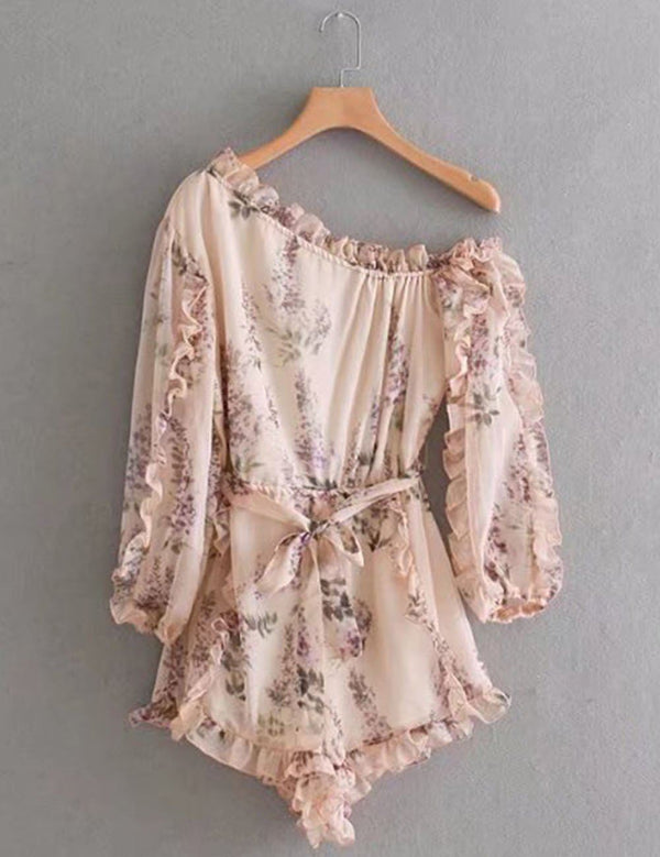 One Shoulder Ruffled Pink Floral Print Mini Dress Pants