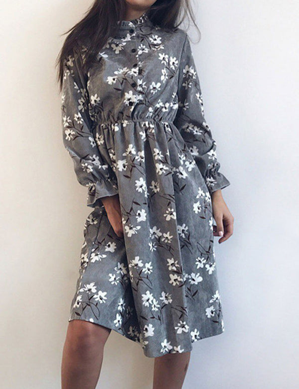 Long Sleeve Stand Collar Elastic Waist Floral Print Midi Dress