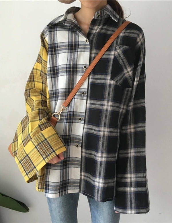 Multicolor Plaid Long-Sleeved Loose Blouse Coat