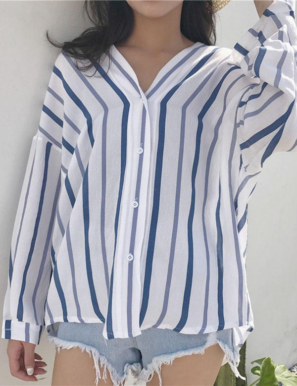 Long Sleeve Light Blue Stripe Loose Blouse