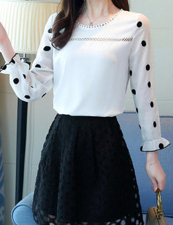 Polka Dot Long Sleeved White Chiffon Blouse