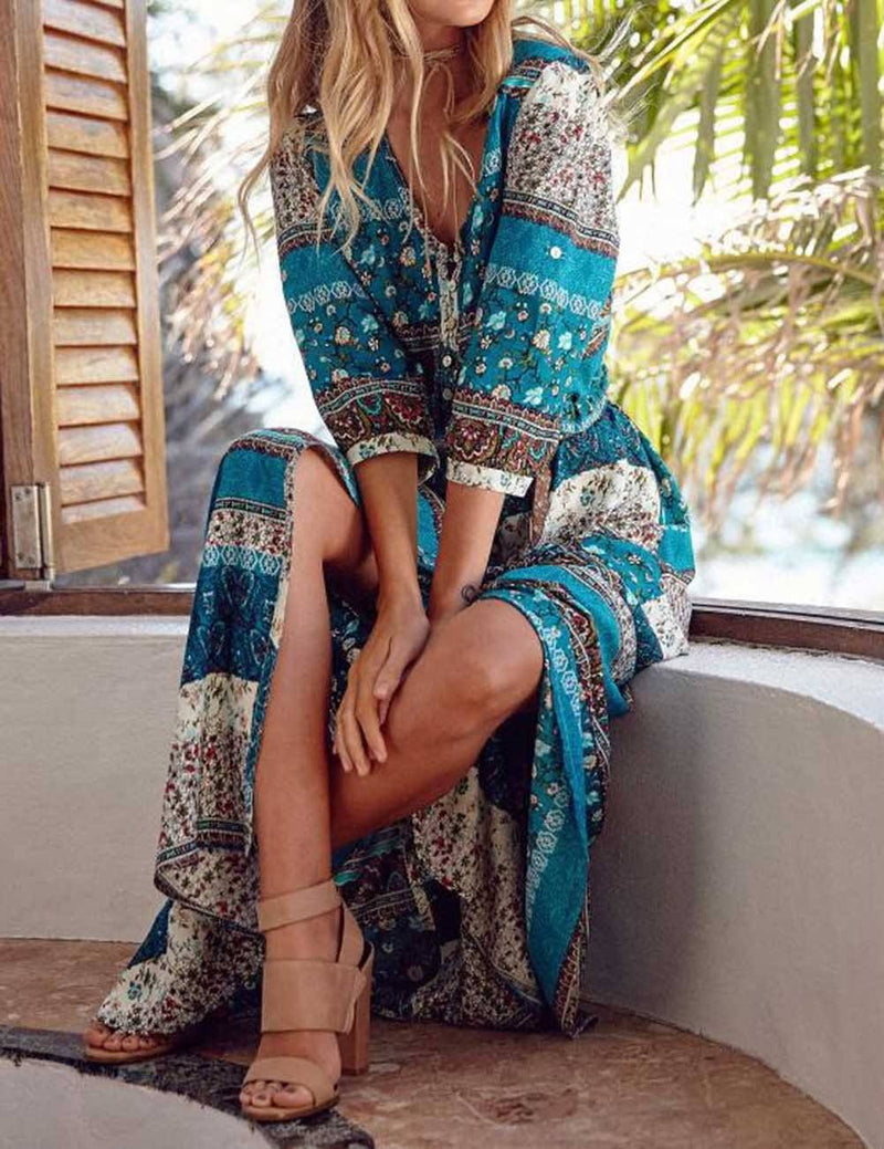 Holiday Dress Printed Buckle Beach Maxi Dress