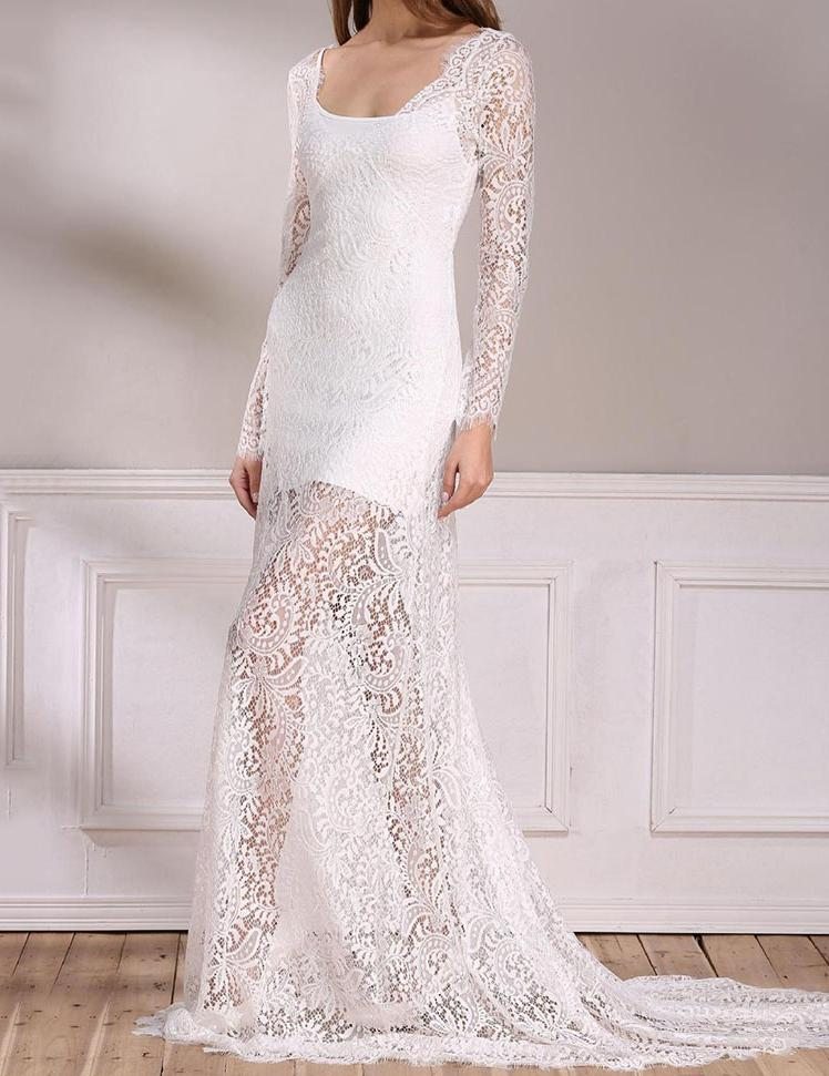 Sheath V-Neck Backless Long-Sleeved with Train Lace Maxi Dress