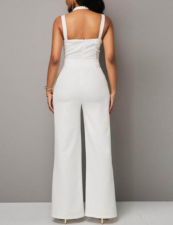 Deep V-Neck Solid Sexy Halter Jumpsuit