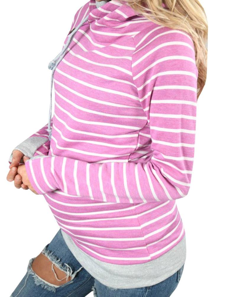 Long Sleeve Striped Hooded Sweatshirt