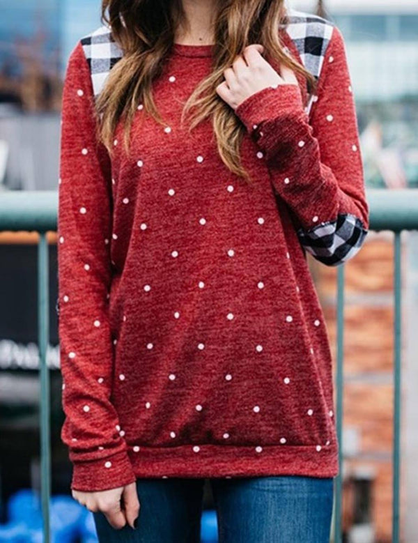 Fashion Polka Dot Print Round Collar Patch Long Sleeve Sweater