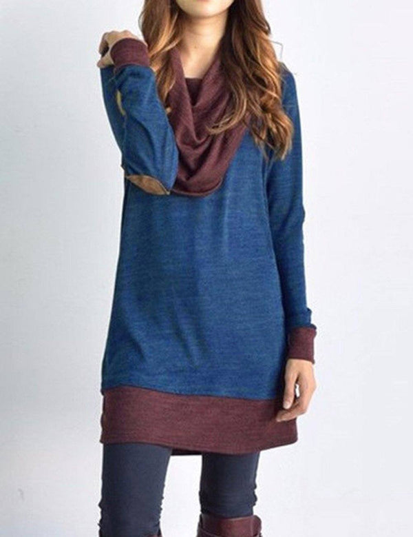 Fake Two-Piece Long Sleeve Sweatshirt Dress
