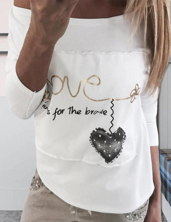 Sexy Off Shoulder Long Sleeve LOVE Stitching Top
