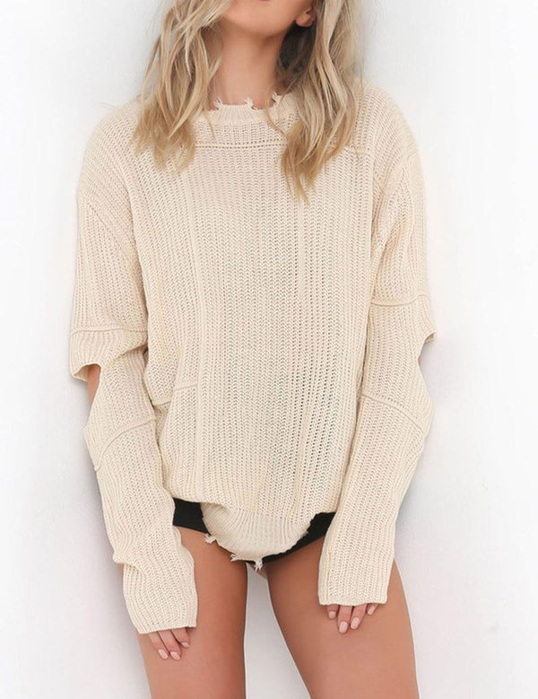 Solid Color Hole Long Sleeve Midi Sweater