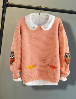 Round Neck Long Sleeve Owl Printed Sweater