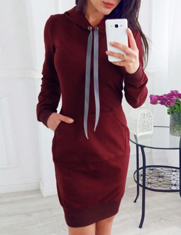 Long Sleeve Fleece Lace Up Hooded Sweatshirt Dress