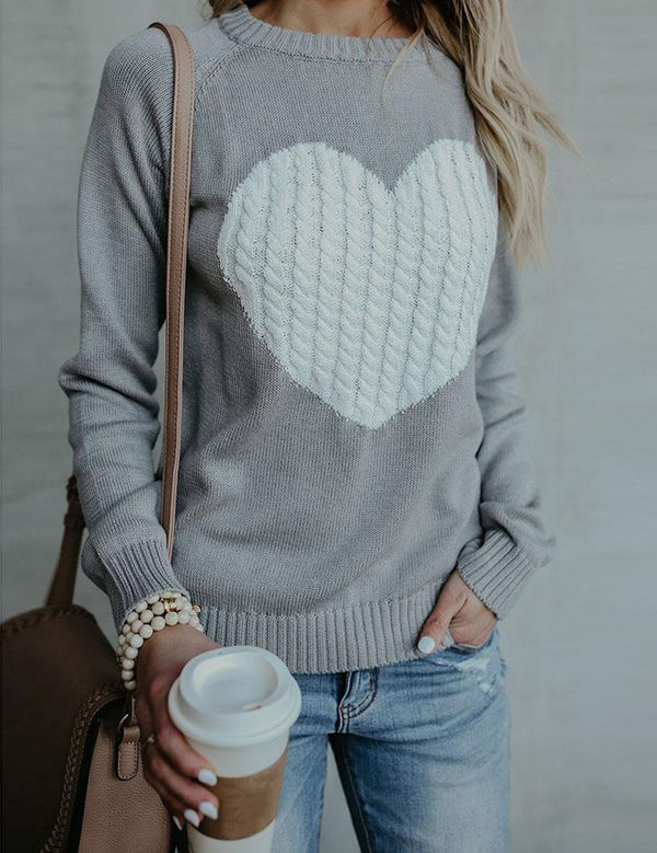 Autumn and Winter Plus Size Love Print Knitwear Sweater