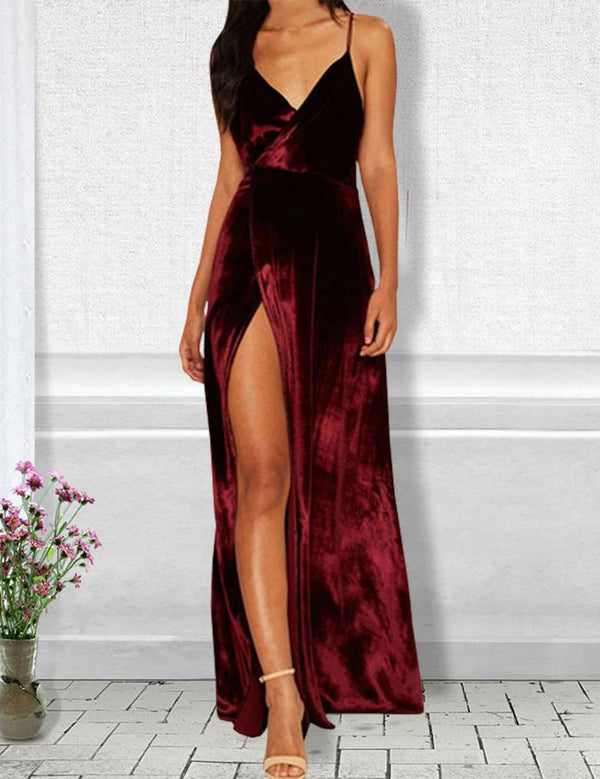 Sexy Open Back High Slit Burgundy Velvet Maxi Sling Dress