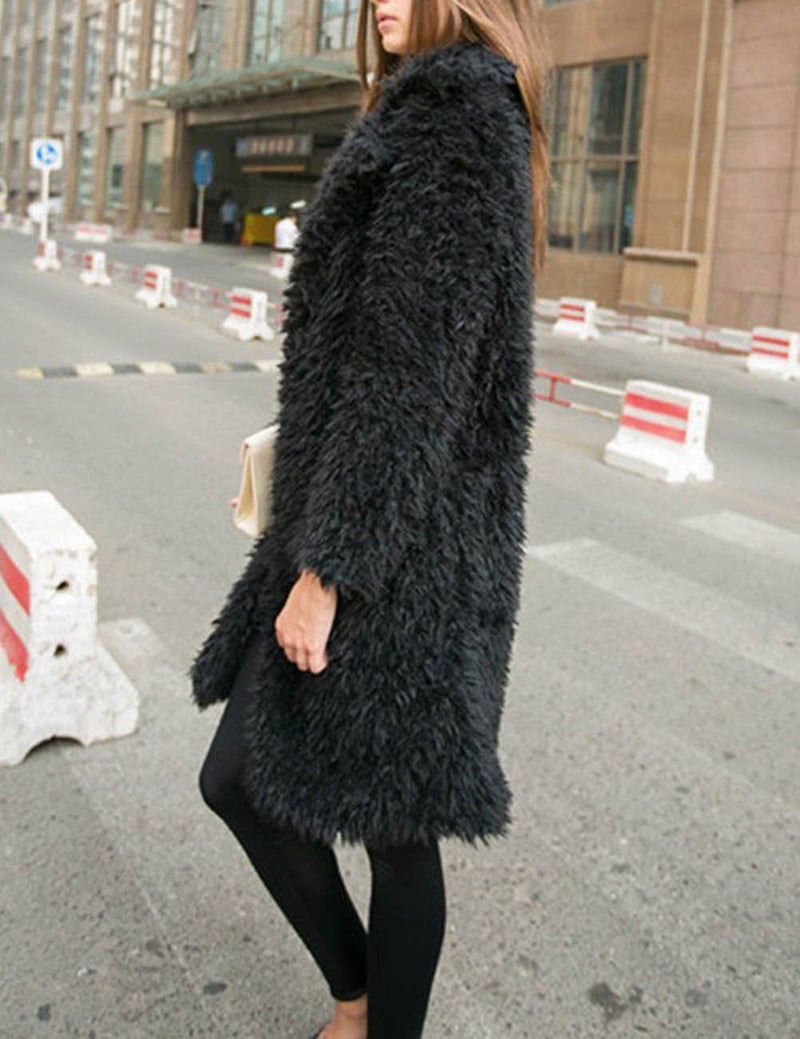 Long Sleeve Jacket Lapel Furry Midi Coat