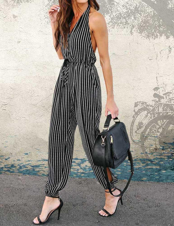 Sexy V-Neck Sleeveless Side Split Jumpsuit