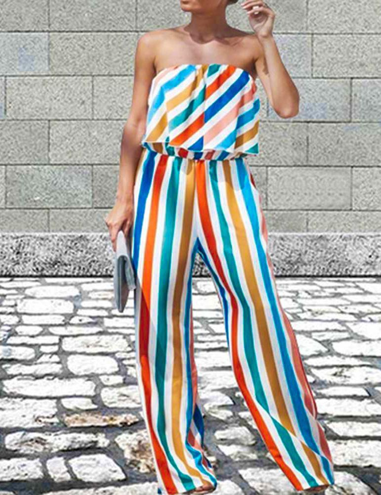Sexy Ruffled Strapless Striped Printing Jumpsuit