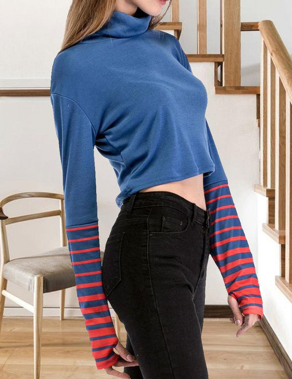 Naked Umbilical Long Sleeved Striped Crop T-Shirt