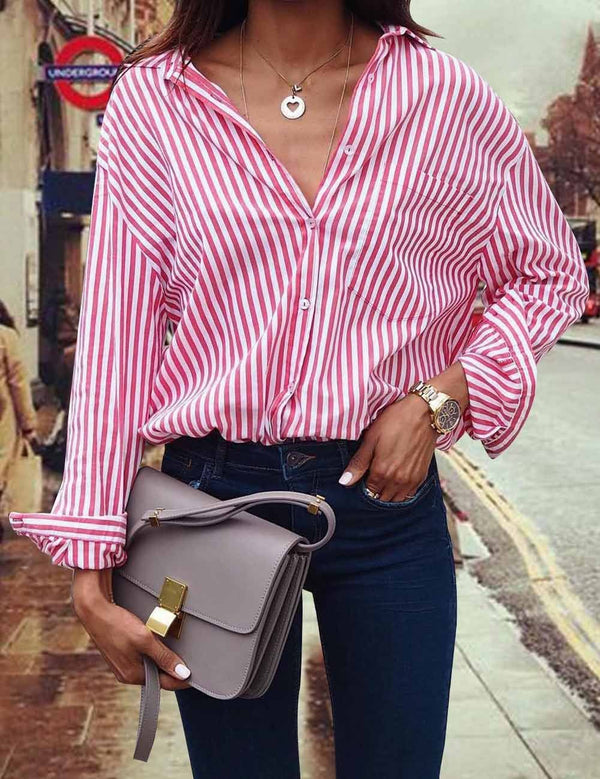 Sexy Casual Loose Vertical Stripe Long Sleeve Blouse