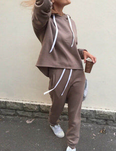 Hooded Long Sleeve Umbilical Sweatshirt Pants Suit
