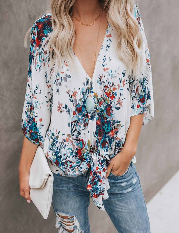 V Neck Flare Long Sleeve Tied Hem Printing Chiffon Blouse