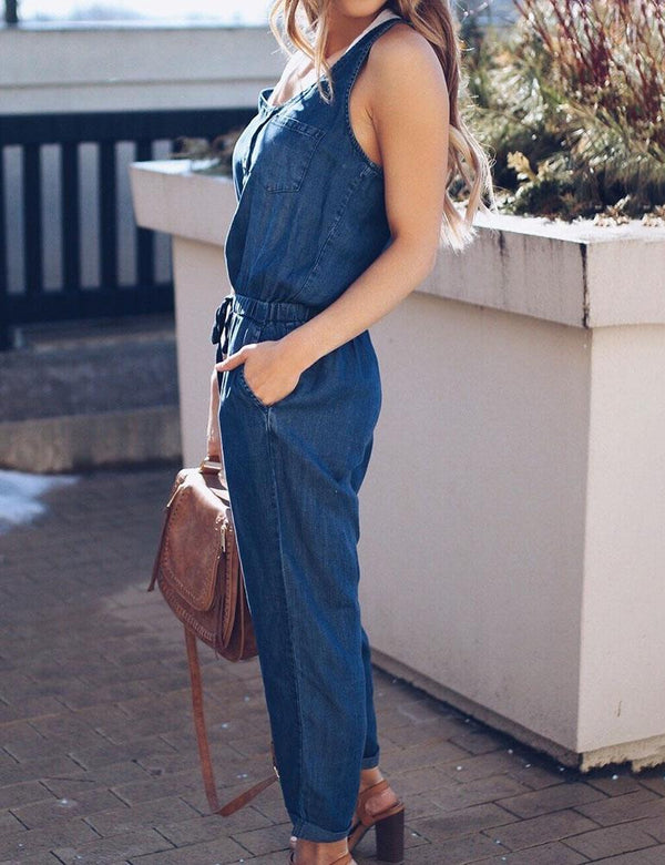 Sexy Sleeveless Button Slim Waist Denim Jumpsuit