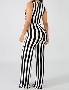 Deep V-Neck Low Cut Bow Tie Sexy Striped Jumpsuit