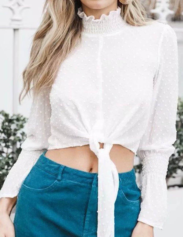 Stand Collar Polka Dot Horn Long Sleeves Tied Hem Crop Blouse