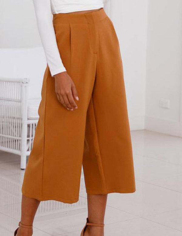 High Waist Broad Legs Pockets Seven Point Pants