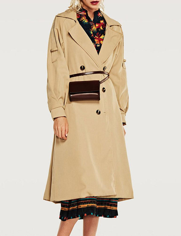 Lapel Neck Double Line Buttons Long Sleeves Tied Belt Coat