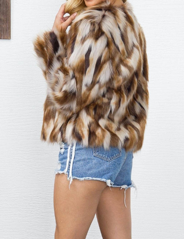 Colorful Pattern Imitation Fur Coat