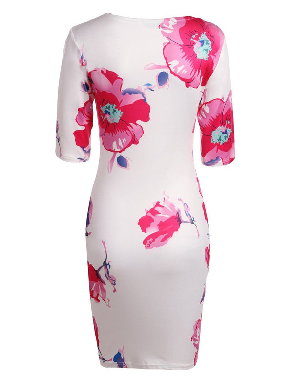 Sheath Round Neck Half Sleeve Flower Printed Slim Mini Dress - Fancyqube
