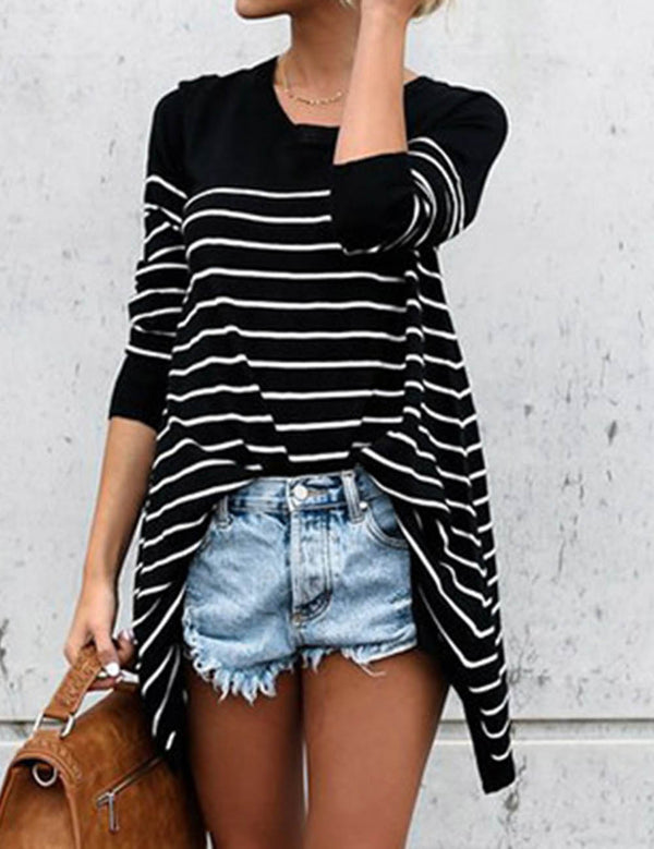 Black and White Striped Stitching Long Sleeve T-shirt