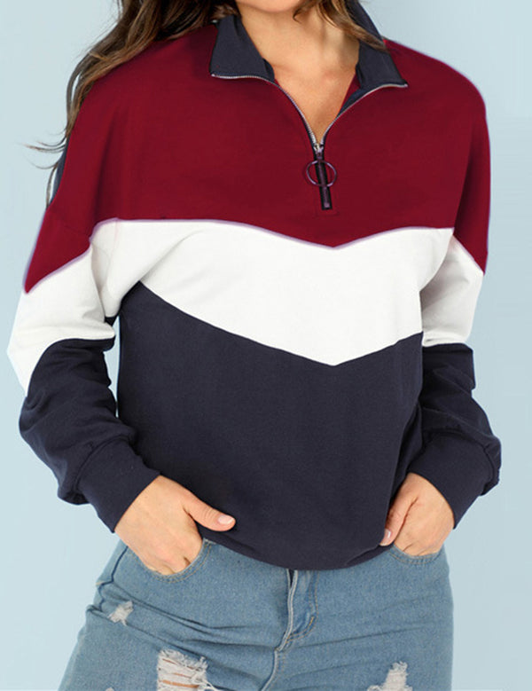 Splicing Color Matching Zipper Collar Long Sleeve Sweatshirt