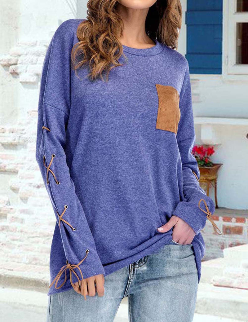 Casual Round Neck Pocket Tied Long Sleeve Top