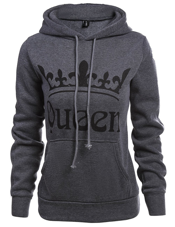 Long Sleeve Queen Printed Women Hooded Sweatshirt - Fancyqube