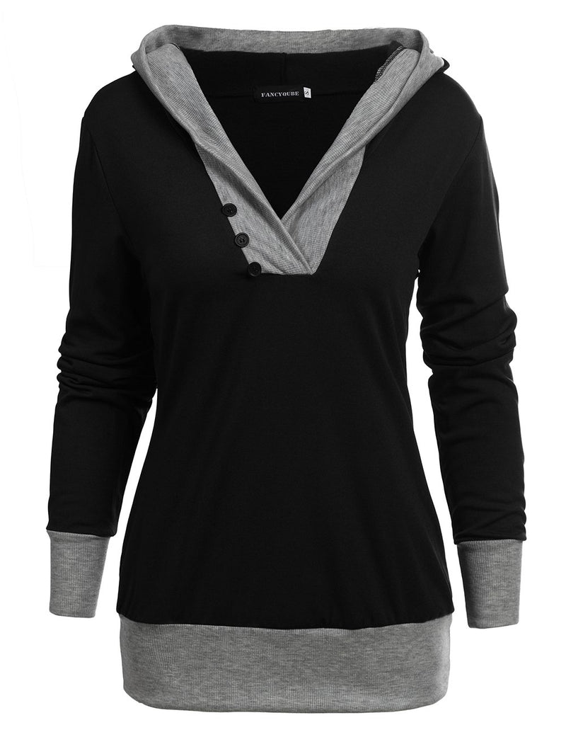 Long Sleeve Knit Hooded Sweatshirt - Fancyqube