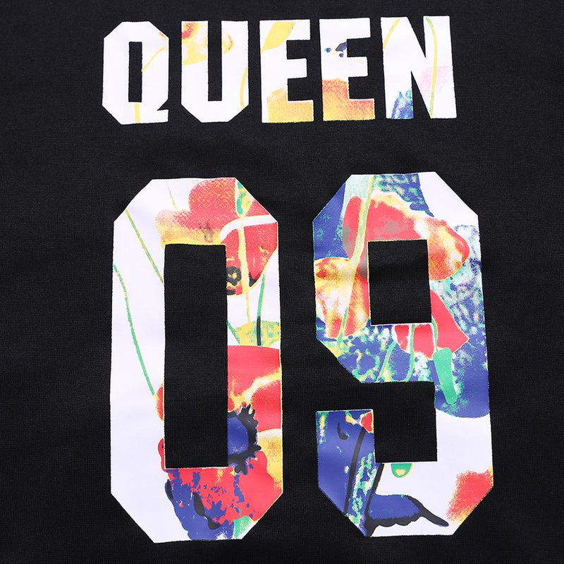 Long Sleeve Multi-color Queen 09 Letters Printed Casual Black Hoodies - Fancyqube